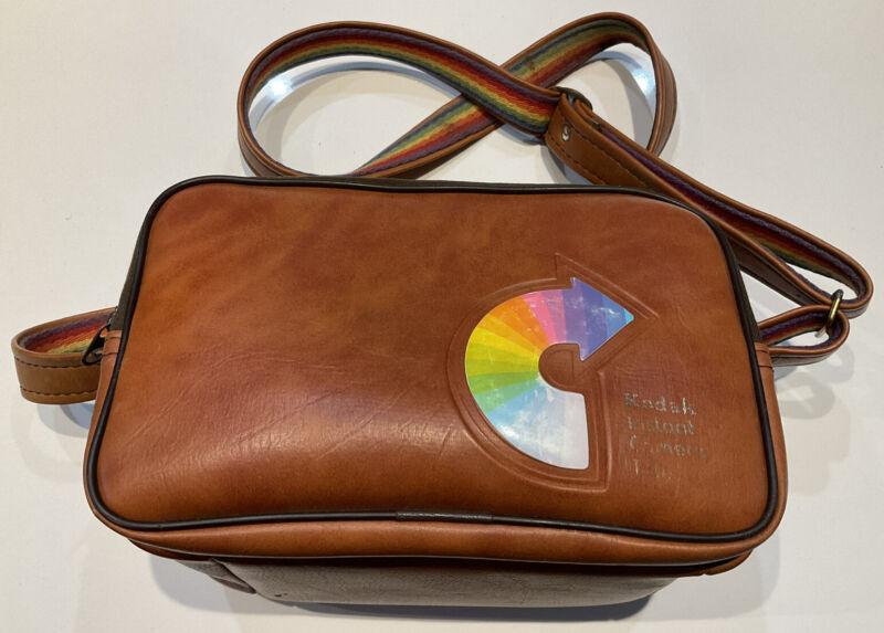 Vintage Kodak Instant Camera Tote Bag Faux Fur Lined Rainbow Adjustable Strap
