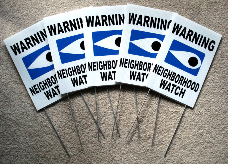 "5 WARNING NEIGHBORHOOD WATCH SIGNS w/Stakes  8""x12"" Plastic Coroplast  Safety w"