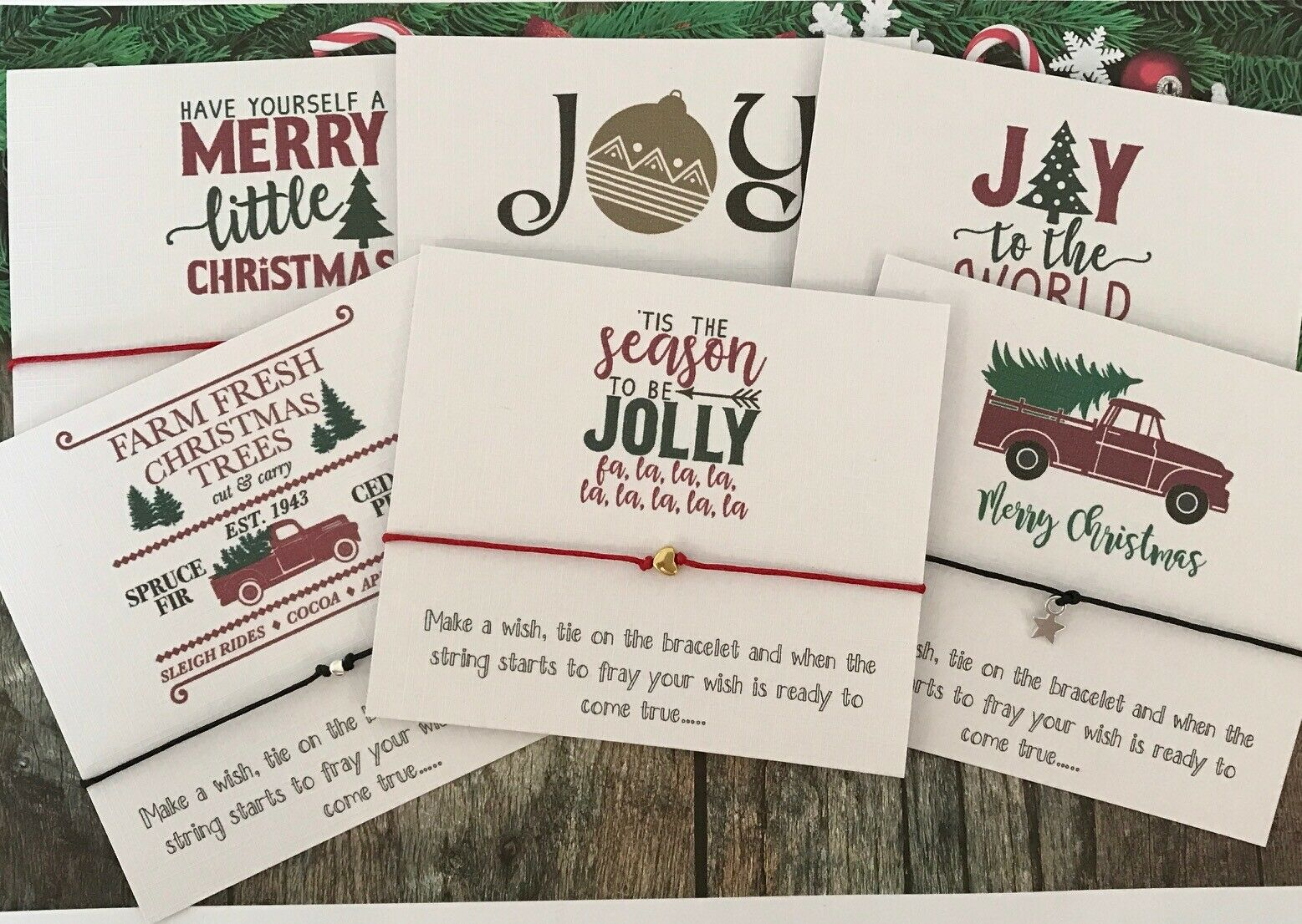 Pack 6 Vintage Christmas Cards Wish String Charm Charm Card