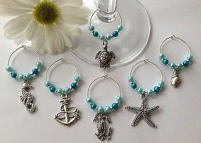 Beach Party Ideas (6 Beach Nautical Wine Glass Charms Hawian Garden Party BBQ's Gift Ideas Wedding)