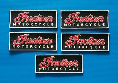 5 Embroidered Sew/Iron On AMERICAN INDIAN MOTORCYCLE Patches W/ FREE SHIPPING