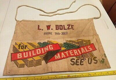 Vintage L. W. Bolze Building Materials Advertising Hardware Store Nail Apron