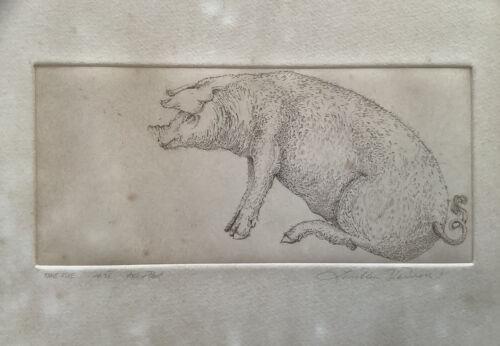 North Carolina - Louellen Vernon Artist Proof Etching 1978 Sitting Pig Or Hog - $6.95