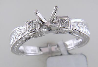 Antique Round Princess Square Side Diamond Engagement Ring Deco 18k Gold