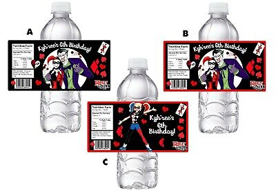 HARLEY QUINN & THE JOKER BIRTHDAY PARTY FAVORS WATER BOTTLE LABELS - Jokers Party Supplies