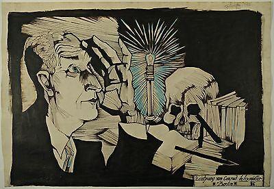 Conrad Felixmüller - Memento Mori - orig. Tuschezeichnung v. 1926