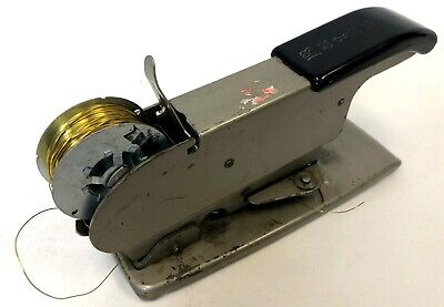 Vintage Bates Metal Model C Gray B-50 Wire Spool Fed Feed Heavy Duty Stapler