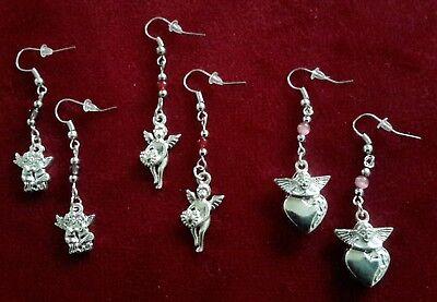 Angel Cherub Earrings with Metal Charms and Glass Beads - Metal Charms Cherub