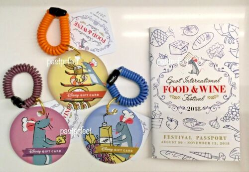 Disney 3 Epcot Gift Cards Remy Ratatouille Food & Wine Festival WDW 50 Yrs 2021