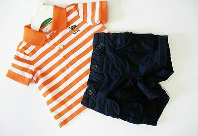 Ralph Lauren Baby Boys Striped Polo & Cargo Shorts Set Orange Multi Sz 12M - NWT