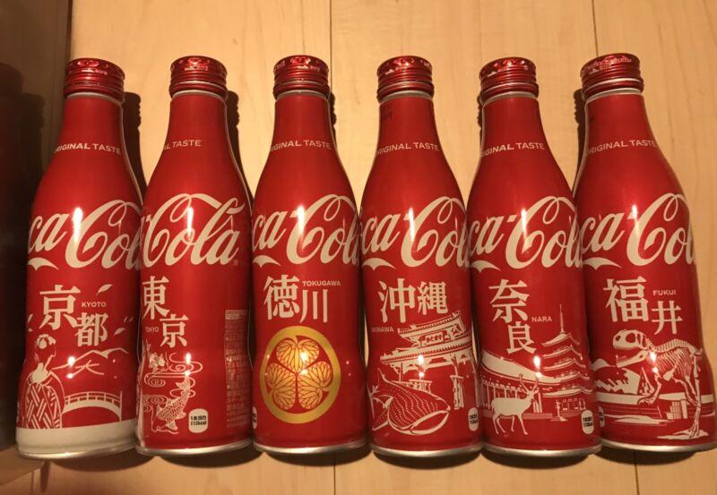(6) diff Coca Cola Japan Slim Bottle Limited Design lot Empty