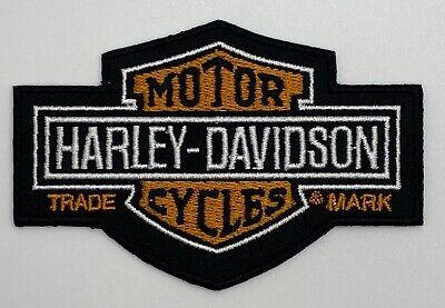 Harley Davidson Black Orange Motorcycle Patch Vintage Style Retro Hat Cap