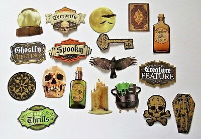 Halloween Cauldron Spells (Halloween Die Cut Sticker Set 18 pc Cauldron Spell Book Foil Accents Paper)