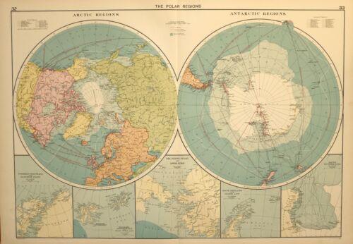 1927 LARGE MERCANTILE MARINE MAP POLAR REGIONS ARCTIC ANTARCTIC GRAHAM LAND