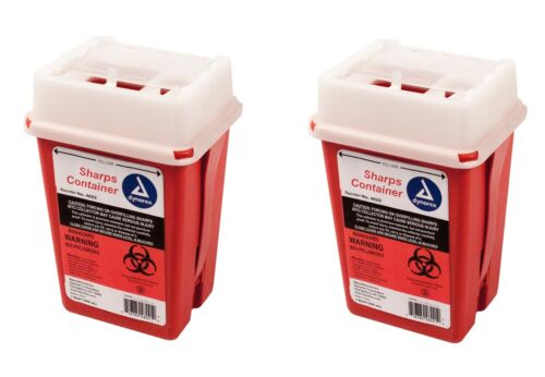 Sharps Container Biohazard Needle Disposal 1 Qt Size Medical-Dental-Tattoo 2EA