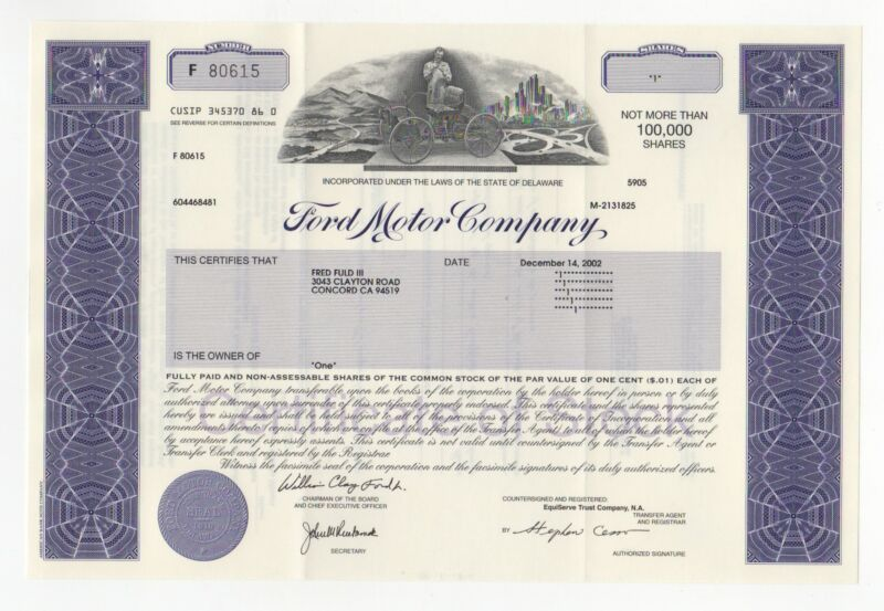 Ford Motor Company Stock Certificate