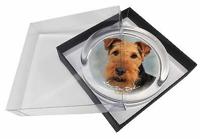 Welsh Terrier Dog 'Love You Dad' Glass Paperweight in Gift Box Christ, DAD-136PW
