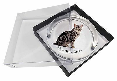 Silver Tabby Cat 'Love You Mum' Glass Paperweight in Gift Box Chris, AC-157lymPW