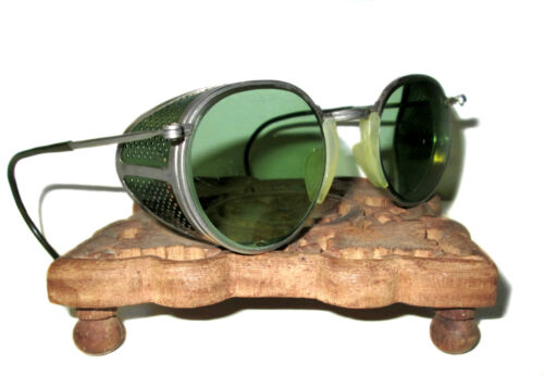 Antique Cesco Green Goggles Safety Glasses Vtg Old Mad Max Steampunk Spectacles