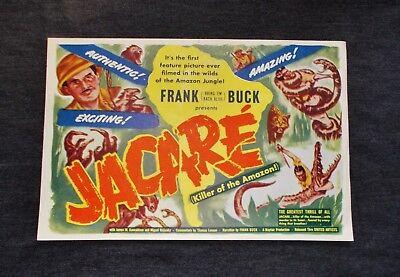 Vintage Original 1942 Jacare Movie Poster  Killer Of The Amazon   Frank Buck