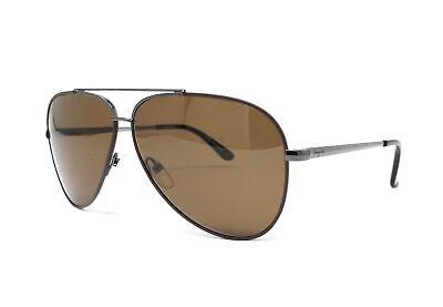 Salvatore Ferragamo Sunglasses SF131S 067 Shiny Gunmetal-Cocoa Aviator (Chocolate Sunglasses)