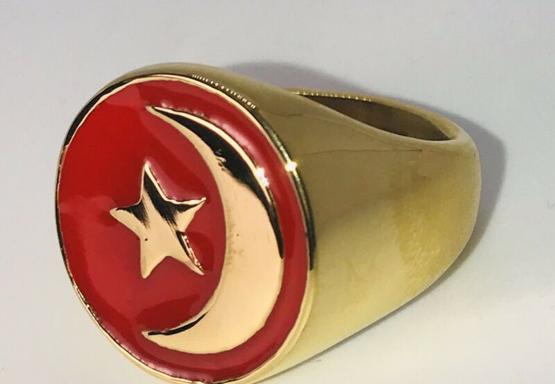 Nation Of islam Crescent Muslim Ring #12 GOLD COLOR