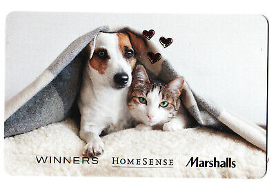 gift card WINNERS HOMES MARSHALLS 🐕🐶🐈🐱 Canada collectible store DOG CAT