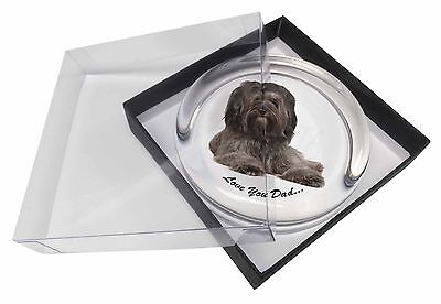 Tibetan Terrier Dog 'Love You Dad' Glass Paperweight in Gift Box Chri, DAD-192PW