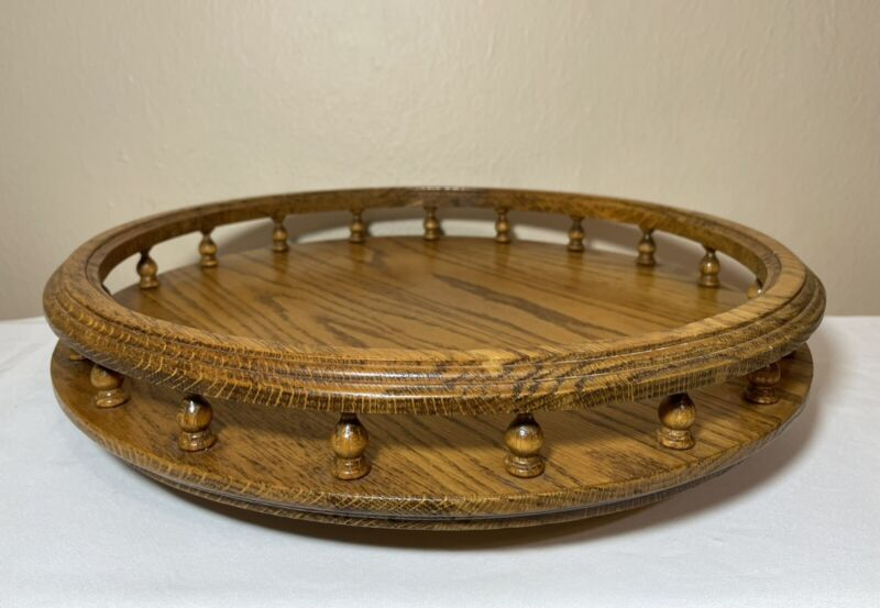 """Vintage Handmade Solid Wood 16"""" Gallery Tray Lazy Susan Turned Wood Spindles"""