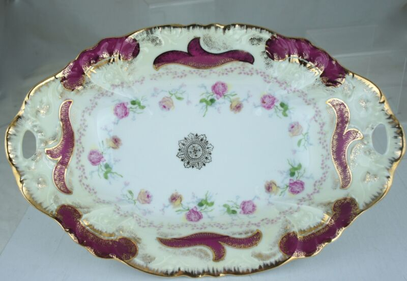 ANTIQUE OVAL BOWL GOLD RIMS,EMBOSSED,PINK ROSE GARLAND,GERMANY
