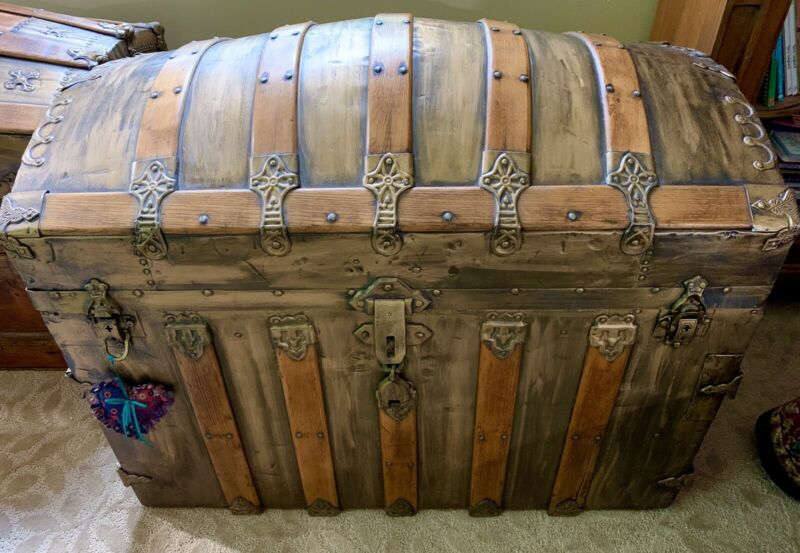 "Antique Large Camelback Dome Top Trunk 37"" X 22"" X 27"""