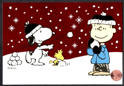SCHULZ Christmas Snoopy Woodstock Charlie Brown Snowing  GLITTERED GREETING Card