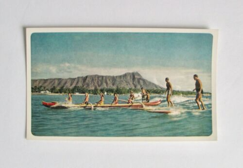Vintage Postcard Surfboarding Waikiki Beach Hawaii Honolulu Surfing Surfboard