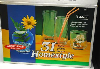 Libbey 31 Piece Homestyle Glassware Set with Vase - In Box Libbey Vasen