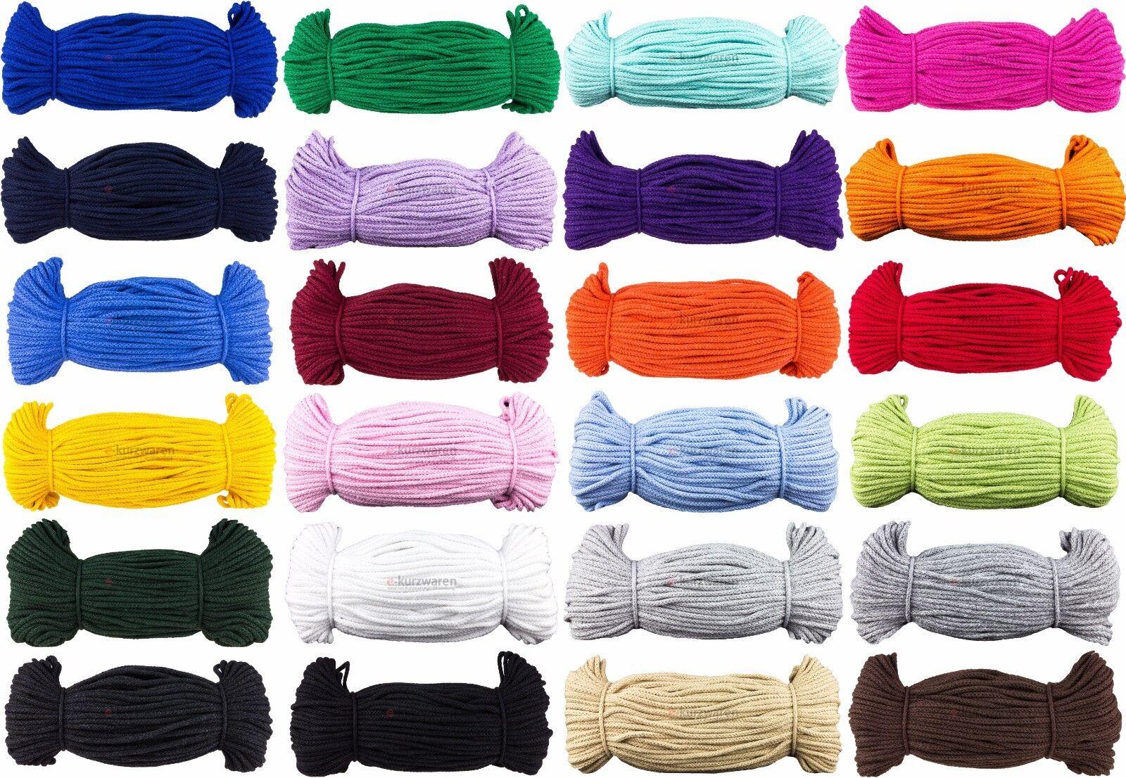 50m/100m Baumwollkordel 3mm/5mm/8mm Kordel Baumwolle Schnur 25 Farben