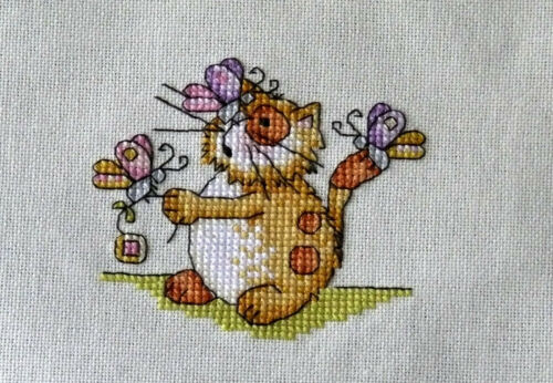 cute kitten cat with butterflies completed cross stitch animals gift