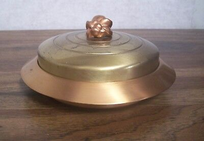 ART DECO CANDY DISH  Brass Top & Copper Base/Knob Vintage CHASE Amber Glass  Top Candy Dish
