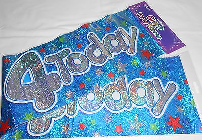 3 GIANT FOIL HAPPY 4TH BIRTHDAY BANNER / SASH WALL BANNER / PARTY DECORATION B4