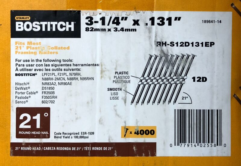 "(Box of 4,000) Full Round Head 3-1/4"" x 12D Framing Stick Nails 21 Degrees"