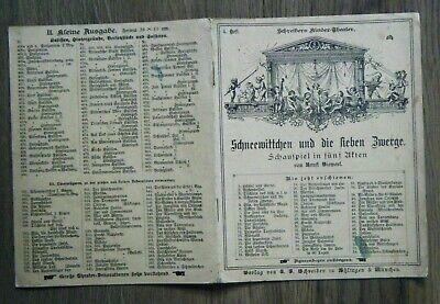 Schreibers Kinder-Theater 4. Heft Schneewittchen Siewert Märchen Grimm um 1890