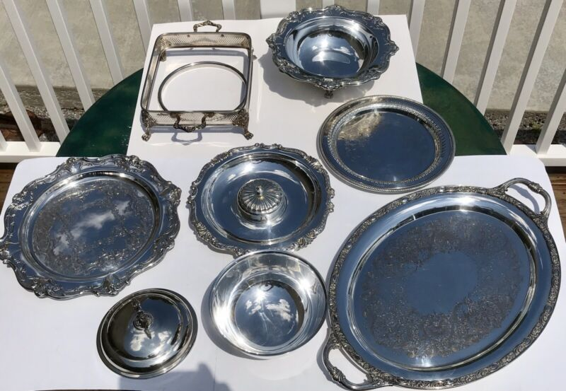 Silverplate Mixed Brands Lot of 9 pieces Bowls Serving Trays Stand Gorham Rogers