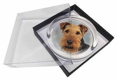 Welsh Terrier 'Love You Grandma' Glass Paperweight in Gift Box Chri, AD-WT1lygPW