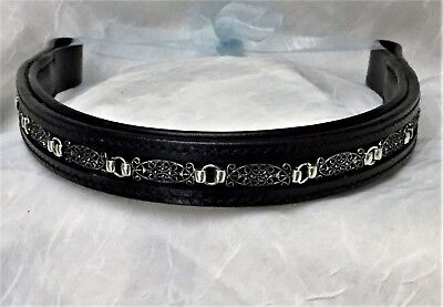 16 inch black soft padded leather browband with FREE shipping in the USA!