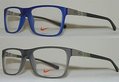 NIKE Men's Eyeglasses Glasses 7107 Lightweight Frame Blue or Gray (Lightweight Plastic Glasses Frames)