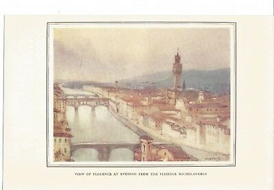 VIEW FLORENCE AT EVENING FROM THE PIAZZALE MICHELANGELO ANTIQUE PRINT 1913