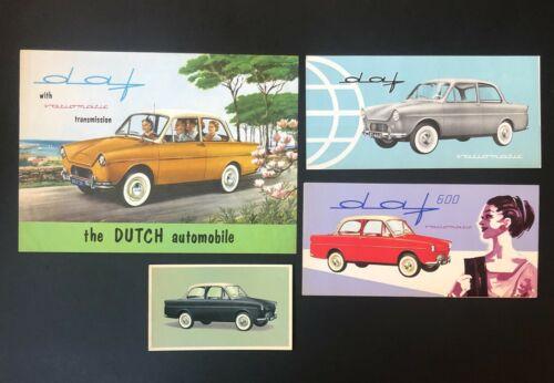Vintage Lot of 4 1960s Daf Sales Brochures Holland Car Color Photos Specs