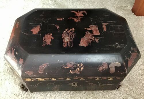 ANTIQUE TEA CADDY BOX, Asian Scene, 2 Wells, Pewter Inserts