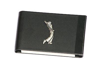 Golfer Design Black Pu And Metal Business Or Credit Card Holder Gift 156