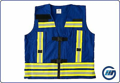 Überwurfweste Kennzeichnungsweste Funktionsweste Feuerwehr blau mit Klettflächen