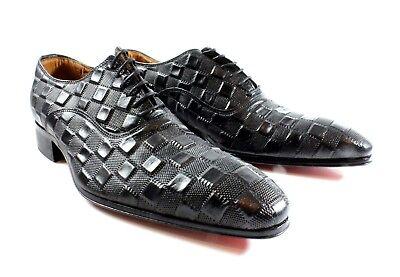 Handmade Cube (Ivan Troy Black Cube Handmade  Men Italian Leather Dress Shoes/Oxford Shoes  )